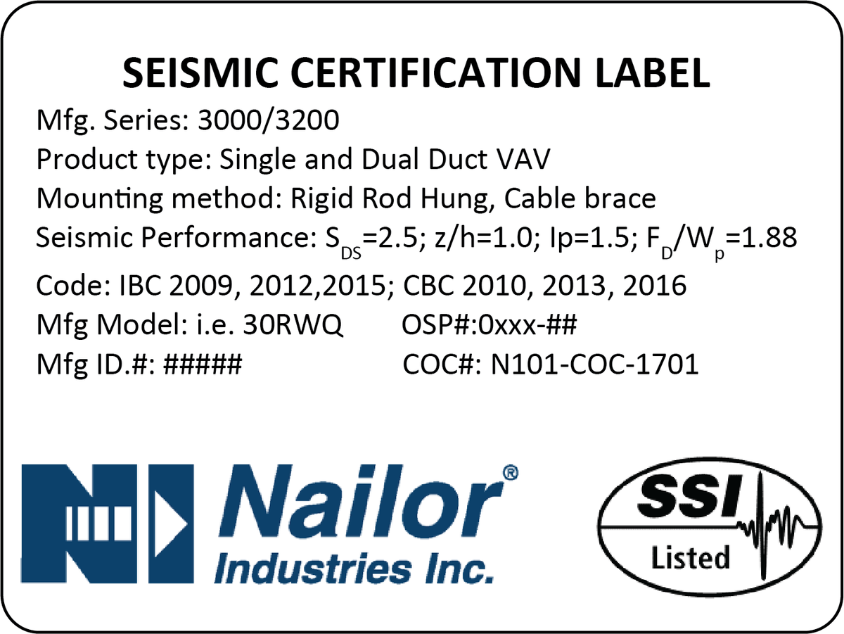 Figure 6:  Sample Seismic label for single and dual duct terminal units with OSHPD certification